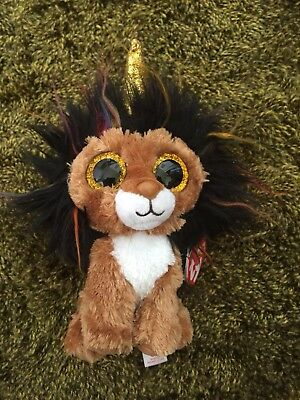 TY Beanie Boo Ramsey Lion   Unicorn (sparkly gold horn) - RARE - New 38f81879690