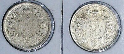 India British(2)Coins 1/4 Rupee 1942 Very Fine,1945 Extra Fine Silver