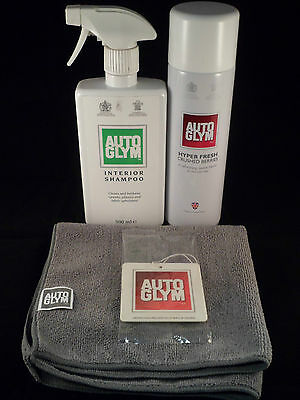 Autoglym Interior Pack - Microfibre Cloth, Air Freshener, Shampoo, Hyperfresh