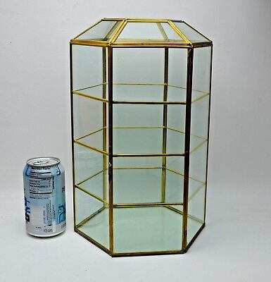 LARGE Vtg Brass Glass Table Top Curio Cabinet Display Case Shelf Mirror showcase
