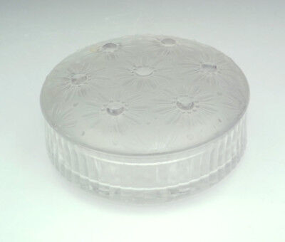 Vintage French Frosted & Clear Glass Powder Bowl - Art Deco!