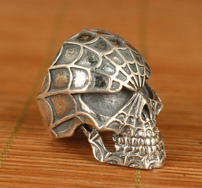 Fine chinese 925 silver hand carving Spider-man Statue figure ring noble gift