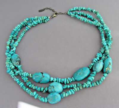 Vintage Old Pawn Sterling Peyote Bird Triple Strand Bead Turquoise Necklace