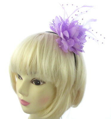 Lilac flower lace feather & beadin fascinator headband for weddings, races, prom