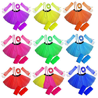 Neon Fun Colourful Tutu Skirt Set Hen Party 80's Fancy Dress Party Beads Bangles
