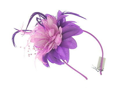 purple/pink flower lace feather & beading fascinator headband for weddings, prom
