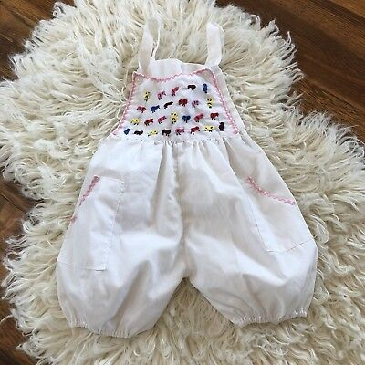 Vintage Baby Romper Embroidered, White 3-6 Months ?