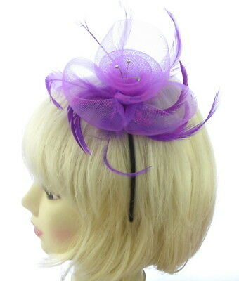 purple mesh feather and diamantie gems fascinator headband for weddings, prom