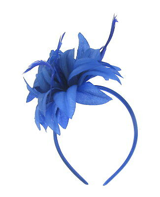 royal blue flower feather fascinator headband for weddings, races ,prom