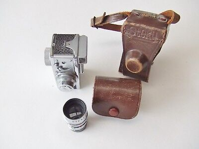 STEKY MODEL 111a SUBMINIATURE CAMERA WITH f5.6 40mm TELE LENS + CASES