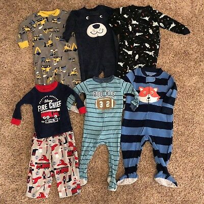 12 Months Carter's 7pc LOT of Winter Pajamas/Sleepers Baby Boy