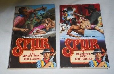 2 SPUR Adult Western Paperback by Dirk Fletcher,THE MINER'S MOLL, DEADRIDGE DOLL