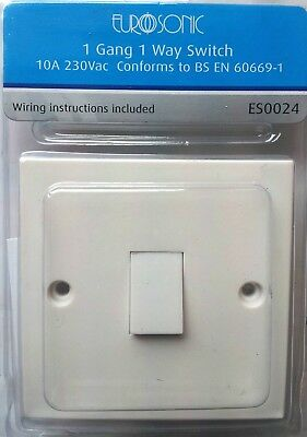 1 Gang 1 Way Switch 10A 230 Vac Complies With Bs1363 Ideal For Home And Office