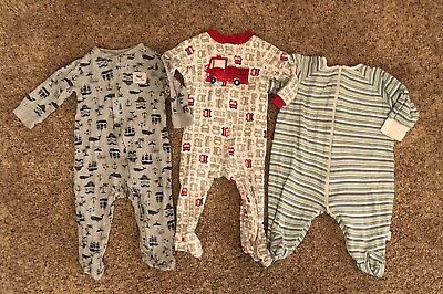 9 Months LOT of 3 Baby Boy Pajamas/Outfits 6-9 Mos