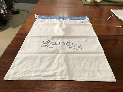 "ANTIQUE / VINTAGE WHITE FEEDSACK LAUNDRY BAG Embroidered ""Linen"" Drawstring"