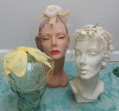 LOT-3) VTG 1960s BIRDCAGE FASCINATOR Whimsy HATS WEDDING ROSETTES w/PEARLS+ $10.