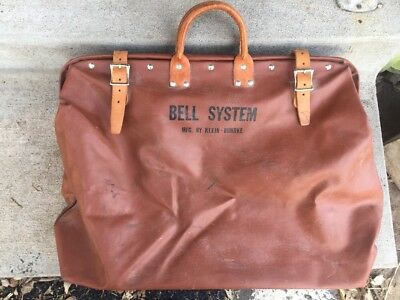 Antique  Bell System Lineman's Work Tool Bag / Carry Tote/ Mfg by Klien-Buhrke