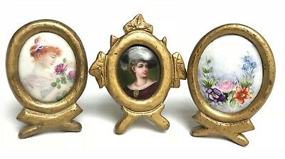 Antique Old Tiny Miniature Pictures Photo Frame Paintings ? Porcelain