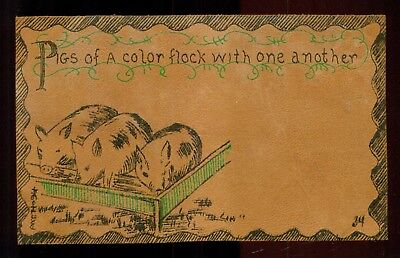 """1907 """"Pigs Eating in Trough"""" Leather Postcard"""