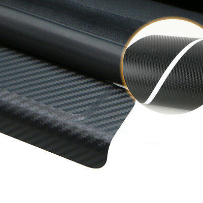 4x Carbon Fibre 3D Car Door Sill Scuff Protector Plate Sticker Cover Black/Red