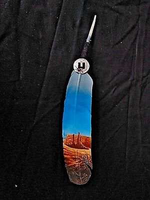 Hand Painted Feather  , Arts & Crafts ,southwest Art , Santa Fe Style , #04