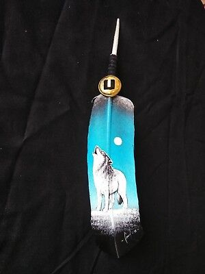 Hand Painted Feather  , Arts & Crafts ,southwest Art , Santa Fe Style , #08