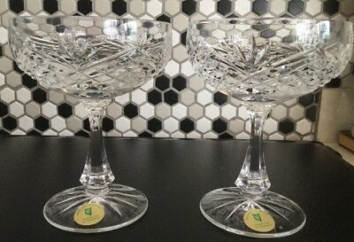 2 X Belfast Crystal Champagne Saucers/ Desert Dishes Cut Glass Unused