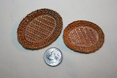 Miniature Dollhouse Pair Metal Basket Platter Trays 1:12 NR