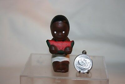Miniature Vintage Black Americana Little Boy Eating Watermelon 1:12 Dollhouse NR