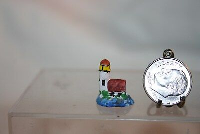 Miniature Dollhouse Artisan Hand Painted Lighthouse Figurine 1:12 NR