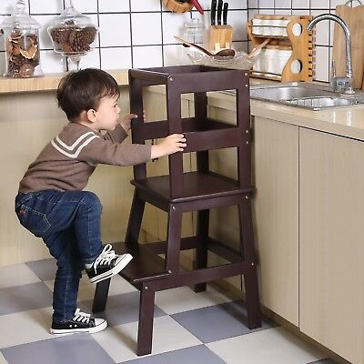 Unicoo Kids Learning Stool Kids Kitchen Step Stool For Toddlers   Coffee