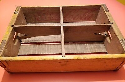 Vintage Coca Cola Yellow Wood Advertising Soda Holder Carrier Crate