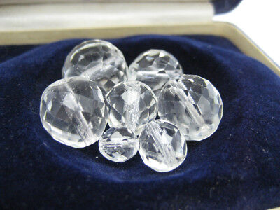 Antique Old Czech Emboss Facet Clear Crystal Glass Button Beads