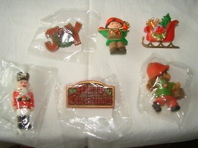 ASSORTMENT HALLMARK CARDS CHRISTMAS PINS  Set of  6