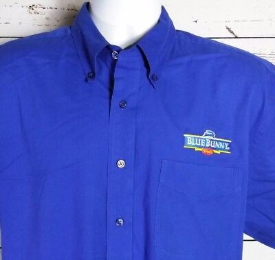 Blue Bunny Wells Ice Cream Port Authority Large Blue Cotton Blend Button Shirt