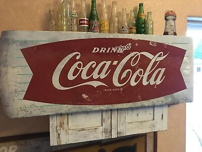 "Original 1950s Retro Coca-Cola 45"" Fish Tail Sled Sleigh Diner Sign"