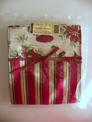 Longaberger Stripe & Pinecone Holiday Tote Gift Bag  Lunch Bag  Purse