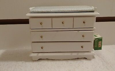 Adorable Dollhouse Miniature Natural Wood Changing Table