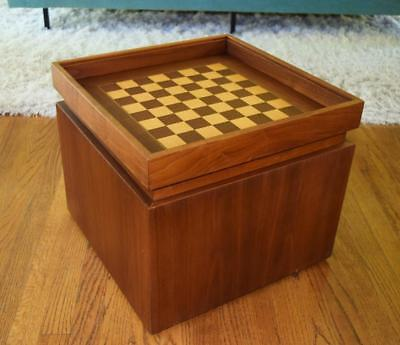 Rare Vtg MCM John Keal for Brown Saltman Game Chess Box Side Table Walnut Birch