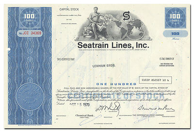 Seatrain Lines, Inc. Stock Certificate Issued to Lehman Bros.