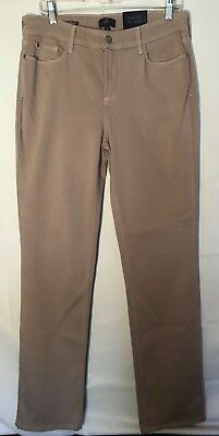 NWT Womens NYDJ Not Your Daughters Jeans Tan Marilyn Straight Jeans 10 NEW Long