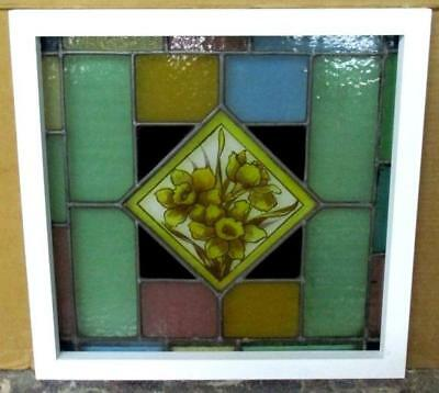 "VICTORIAN ENGLISH LEADED STAINED GLASS WINDOW Handpainted Flowers 20.5"" x 20.25"""