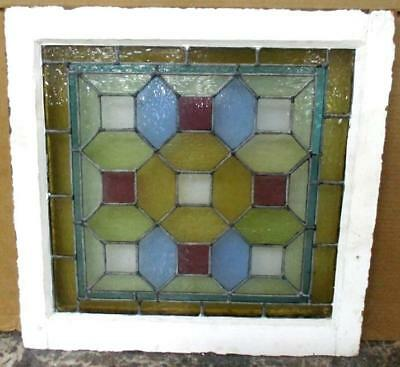 "VICTORIAN ENGLISH LEADED STAINED GLASS WINDOW Spectral Geometric 23.75"" x 23.25"""