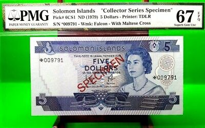 Money Solomon Islands 5 Dollars Nd 1979 Specimen Pmg  Gem Unc Pick #6Cs1