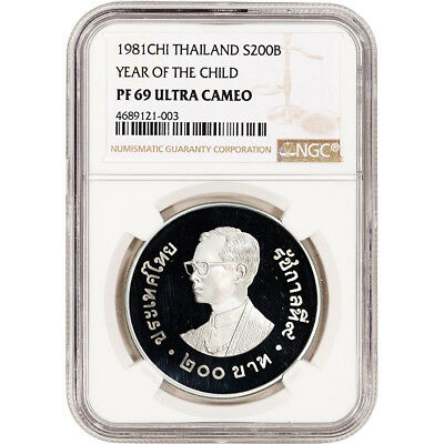 1981 CHI Thailand Silver Year of the Child Proof 200 Baht - NGC PF69 UCAM