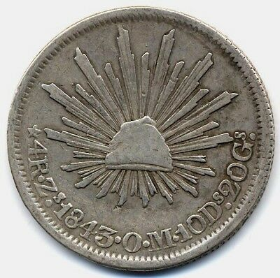 MEXICO CAP & RAYS 4 REALES 1843 ZsOM CHOICE VF, EXCELLENT EYE APPEAL, UNCLEANED
