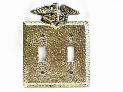 Vintage Hammered Brass Eagle Double Switch Plate M.c.co.