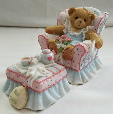 Cherished Teddies Bear Figurine Mom You're Tea-rific Chair Ottoman Tea NIB