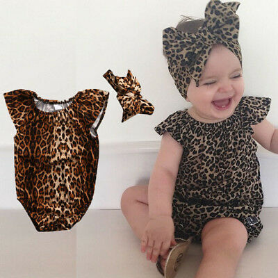 AU STOCK Infant Baby Girl Clothes Leopard Romper Bodysuit+Headband Summer Outfit