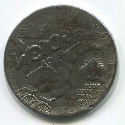 """1918 WWI """"Victory"""" Brill Brothers Clothes, Good Luck Token. """"A.F. Counterstamp"""""""